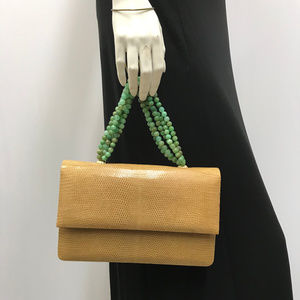 Darby Scott Lizard Bag Caramel w Jade Beads Handle